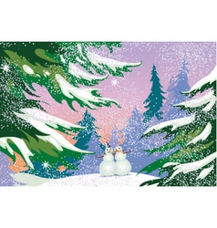 Christmas card snowmen forest vector image