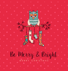christmas decoration socks cute owl cartoon card vector image