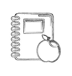 Contour rings notebook tool with apple fruit vector