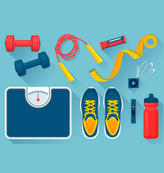 Convenient equipment for fitness set vector