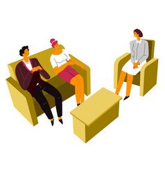 couple at meeting with professional psychiatrist vector image