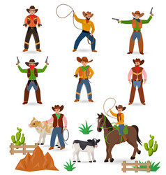 cowboy western cow boy or wild west sheriff vector image