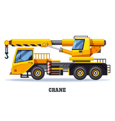 crane truck or construction and lifting machinery vector image