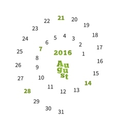 Creative calendar for August 2016 with dates on vector
