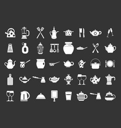 crockery icon set grey vector image