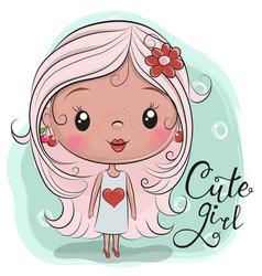 Cute cartoon girl with a flower vector