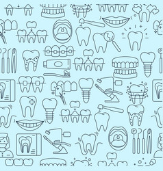Dental seamless pattern with outline icons vector