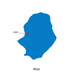 Detailed map of Niue and capital city Alofi vector