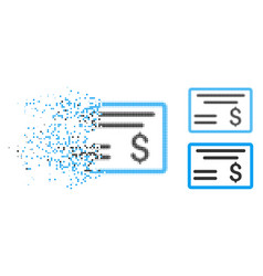 Dissolved dotted halftone dollar cheque icon vector