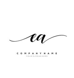 Ea initial letter handwriting logo hand drawn vector