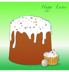Easter cake cupcake and egg vector image