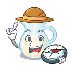Explorer milk jug completely filled with character vector