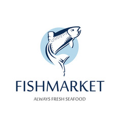 Fish market logo retro badge of blue silhouette vector