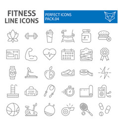 fitness thin line icon set sport symbols vector image