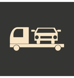 Flat in black and white mobile application tow car vector