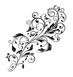 Floral decorative ornament flower branch vector