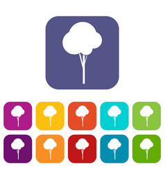 fluffy tree icons set vector image