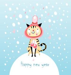 funny cat in winter vector image