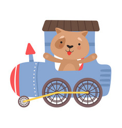 Funny dog with red cheeks riding on train vector