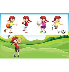Girl playing golf and other sports vector