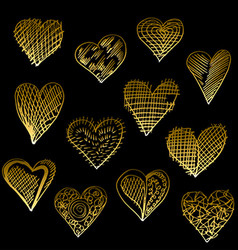 golden hearts set vector image