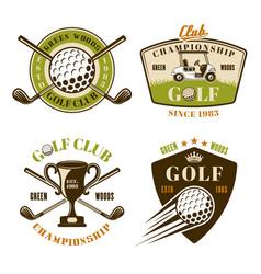Golf club set colored emblems vector