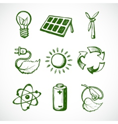 Green energy sketch icons vector