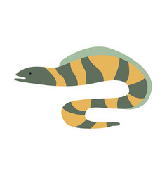 grey and yellow stripy moray eel part of vector image