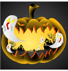 Halloween Pumpkin on black background vector image