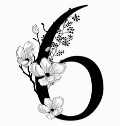 Hand drawn floral number six monogram and vector