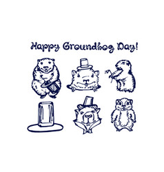 hand drawn winter set with groundhogs vector image