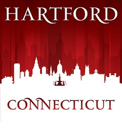 Hartford Connecticut city skyline silhouette vector