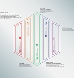 Hexagon infographic template divided to five color vector