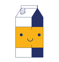 kawaii milk carton in color sections silhouette vector image