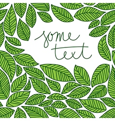 Leaves frame doodle vector