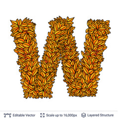 Letter w sign of autumn leaves vector