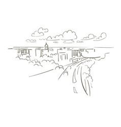 madison wisconsin usa america sketch city line art vector image