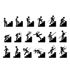 Man climbing staircase or stairs pictogram vector
