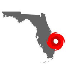 Map florida and hurricane symbol vector