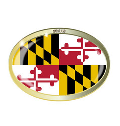 Maryland state flag oval button vector