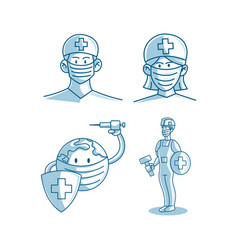 mask protection health care set vector image
