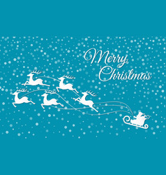 merry christmas reindeer sleigh holiday cut out vector image