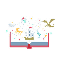 Open story book with fairytale vector