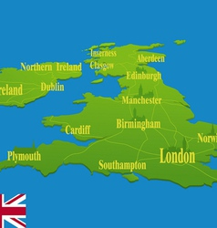 Original England map with a national flag vector image