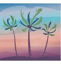 palms on island sky and sunset cartoon vector image