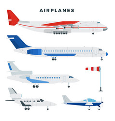 passenger and cargo airplane set airplanes side vector image