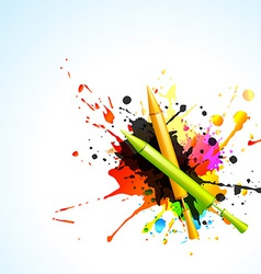 Pichkari with colorful splashes vector