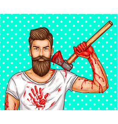 Pop art brutal bearded man with blood vector