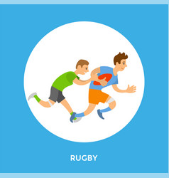 rugleague football game frame button and player vector image