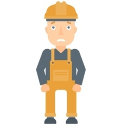 Scared industrial worker in hard hat vector